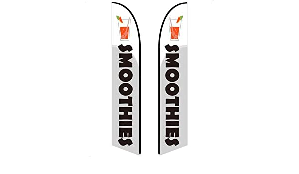 Smoothies - Style 1 13.5ft Feather Banner Double-Sided, Poles and Spike Base Included