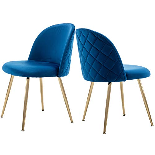 Tufted Accent Chairs, Velvet Upholstered Chairs with Gold Plating Metal Legs Blue&Brass for Living Room/Dinning Room/Kitchen/Vanity/Patio, Set of 2 (Navy Blue)