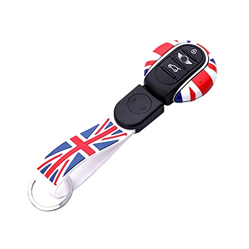 (Remote Fob ABS Key Cover Case Holder w/Soft Silicone Compatible Keychain For Mini Cooper ONE S JCW F54 F55 F56 F57 F60 Clubman Countryman - Red/Blue Union Jack UK Flag)