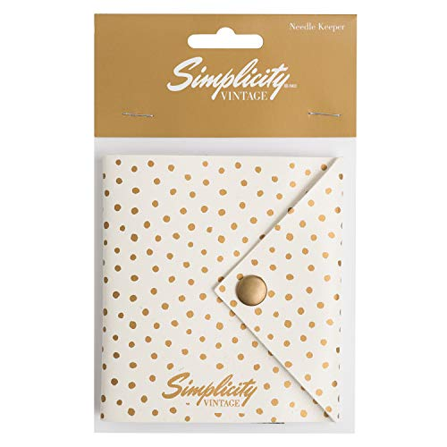 - Simplicity Vintage Fashion White Polka Dot Felt Pincushion Needle Keeper Case, 4'' x 4.25''