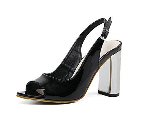 la Sweet à Fashion Sexy Chaussures JAZS® Toe Noir Europe Summer New pour Style à Femmes Amérique Talons Open Élégant Sandales Hauts Mode épais et wwT1UI