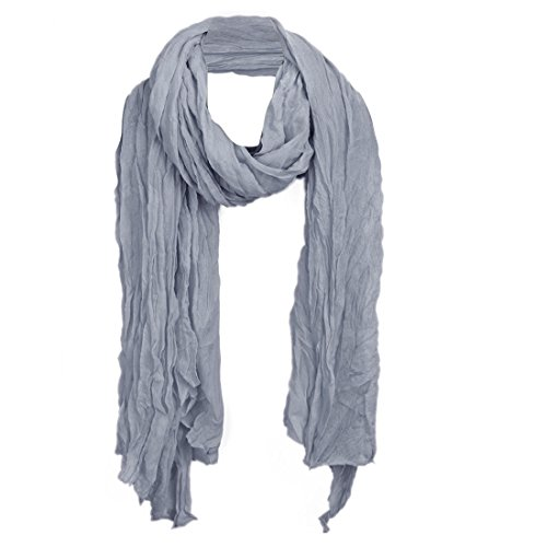 (Allegra K Women Ruched Detail Semi Sheer Soft Simple Casual Scarf Gray 172 x 70cm/ 67 3/4 x 27 1/2