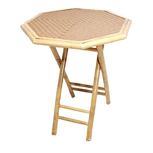 Heather Ann Creations Bohemian Bamboo Octagon Folding Bistro Table with Diamond Wood Top, 30