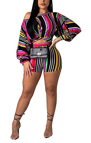 Womens Summer 2pcs Off Shoulder Puff Sleeve Striped Printing Wrap Crop Tank Top Shirt Hot Pants Set Club Shorts Boho Maxi Party Club Beach Dress Colorful XL