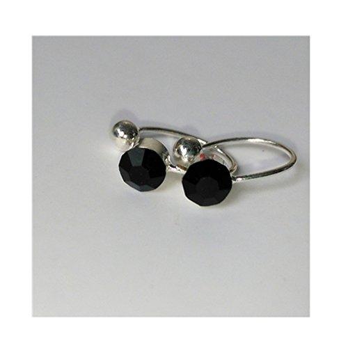 LIAOYLY Clip On Earrings For Women 4Mm Crystal Ear Cuff Jewelry Fake Piercing Zinc Alloy Ear Clips Girl Black onesize ()