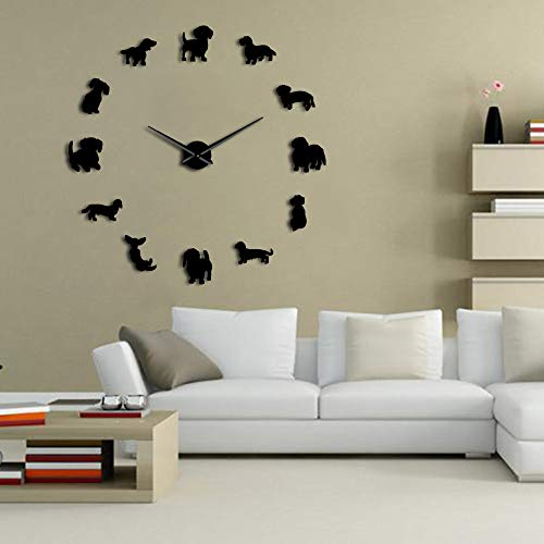 The Geeky Days DIY Dachshund Wall Art Wiener-Dog Puppy Dog Pet Frameless Giant Wall Clock with Mirror Effect Sausage Dog Large Clock Wall ()