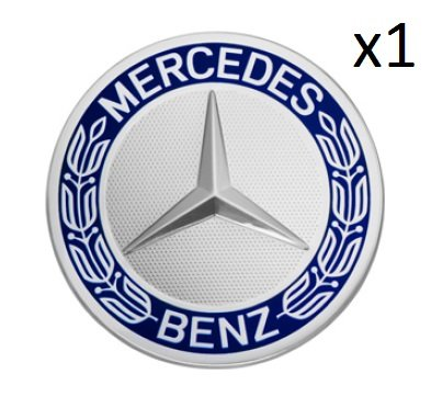 - Mercedes Benz Genuine Wheel Center Cap (Qty: 1) (Blue Laurel Wreath)