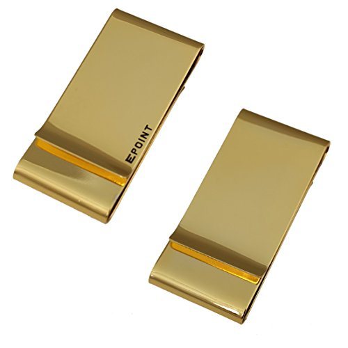 EQA08B02 Comfort Husband Mens Gold Stainless Steel Money Clip Wallet For Evening Double Folding Money Clip By Epoint