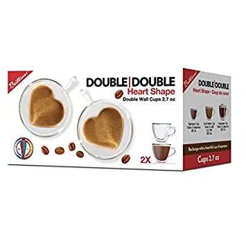 Double Wall Heart Cappuccino Cup 8.5 oz Set of 2 Brilliant