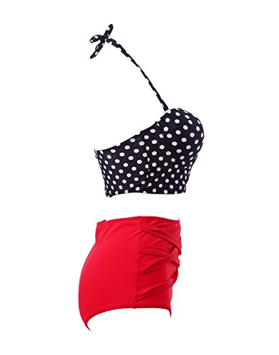 HDE Women Vintage 50s Pinup Girl Rockabilly High Waist Retro Bikini Swimsuit Set (Polka Dot Bustier with Red Bottom, Large)