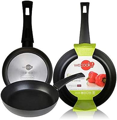WECOOK Ecogreen Set Juego 3 Sartenes 18-20-24 cm Aluminio, inducción, Antiadherente ecológico sin PFOA, Limpieza lavavajillas Apta para Todas Las ...