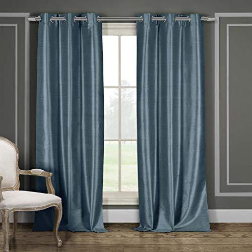 - Duck River Textile Daenerys Faux Silk Grommet Top Window Curtain 2 Panel Set, 38 X 84, Blue
