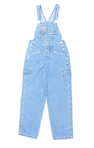 Revolt Women's Classic Bib Overalls - Olive, Khaki and Denim Blue Jean (Medium, Light Stone) (Women Denim Overalls)