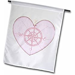 "3dRose fl_38499_1 ""Heart Compass- Love Art- Romantic- Valentines Day"" Garden Flag, 12 x 18"""