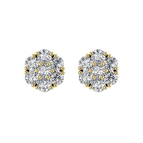 Delight femmes de diamant 18K boucles d'oreille Clous en forme de fleur (si1-si2, 1/3carat)