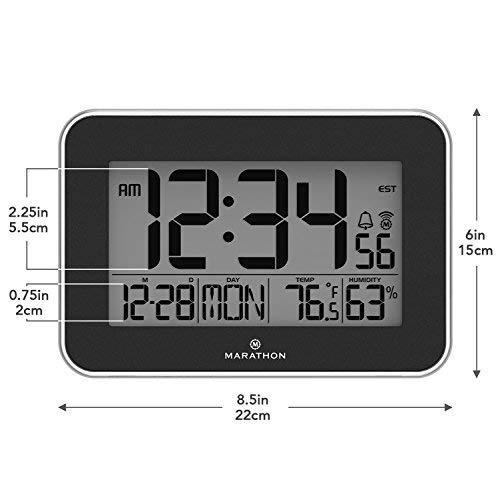 Marathon CL030060BK Atomic Wall Clock Acrylic Bezel. Displays Indoor and Humidity.