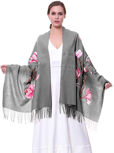 MORCOE Women's Exotic Design Wool Delicate Embroidered Soft Fringe Long Scarf Wrap Ladies Party Shawl Valentines Day Gift (Style 2:Grey)