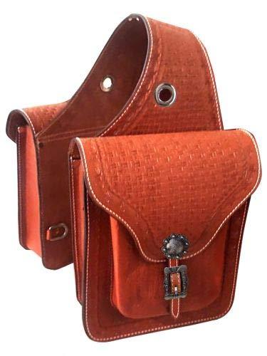 (Showman Basket Weave & Barbwire Tooled Leather Saddle Bag! New Horse TACK!)