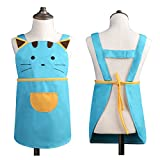 Cute Girls Boys Kids Toddler Cartoom Cat Embroidered Apron Cotton Children Apron Chef Kitchen Cooking Baking Apron for Kids 2-4 Years Old (Blue)