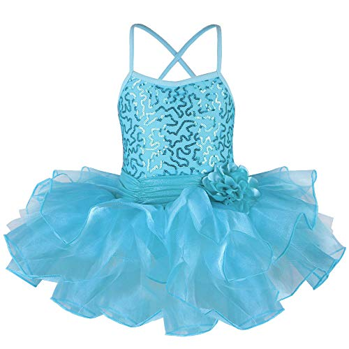 TFJH E Little Baby Girl's Ballet Outfits Shiny Sleeveless Leotard Tutu Blue XL -