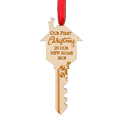 WAVEJOEY 2018 Christmas Ornament Our First Christmas in Our New Home Wooden Key Shape Housewarming Gift Xmas Tree Decoration 2 Pack -