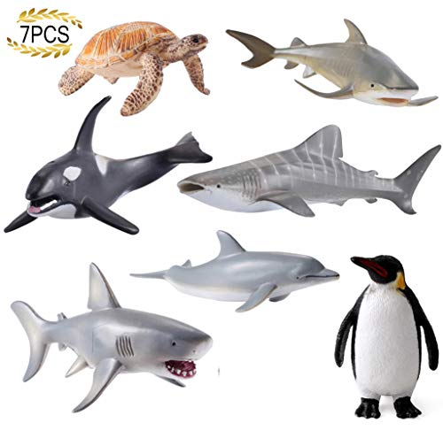 HAFUZIYN Sea Animals Figure Toys, Realistic Plastic Marine Toy Figures, Ocean Underwater Creatures Action Models, 7 Pieces Set