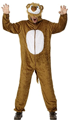 Smiffys Adult Unisex Lion Costume, Jumpsuit with Hood, Party Animals, Serious Fun, Size M, 31678 ()