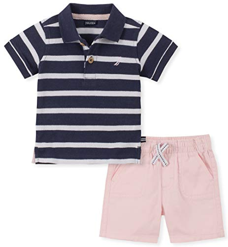 Nautica Sets (KHQ) Boys' Toddler 2 Pieces Polo Shorts Set, Navy/Pink 2T