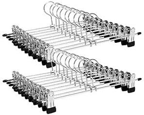 SONGMICS Perchas para Pantalones Metal, 20 Unidades, 31 x 10,5 cm, Antideslizantes,  Perchas para Faldas con Clip,  Color Plateado CRI003-20