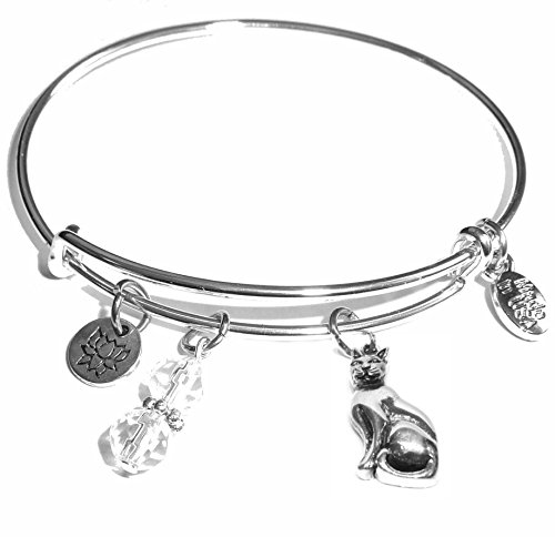 (Message Charm (84 Options) Expandable Wire Bangle Bracelet, in the popular style, COMES IN A GIFT BOX! (Cat Charm) )