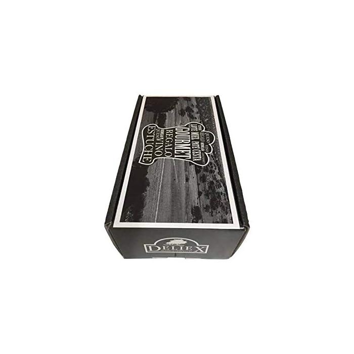 41GFmLWTVSL Productos gourmet Extremadura Se presenta en caja de cartón negra, con una frase a ambos lados del estuche (ojo, frase no personalizable) vino tinto de 37.5 cl (Cristal)