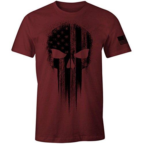 USA Military American Flag Black Skull Patriotic Men's T Shirt (Maroon, XL)