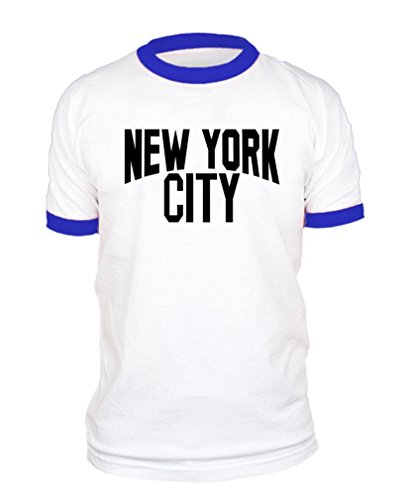 New York City Photo NYC Retro - Ringer T-Shirt, L, White w/Royal Rings