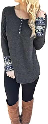 WLLW Womens Long Sleeve Scoop Neck Blouse Geometric Print Henley Tee Shirt