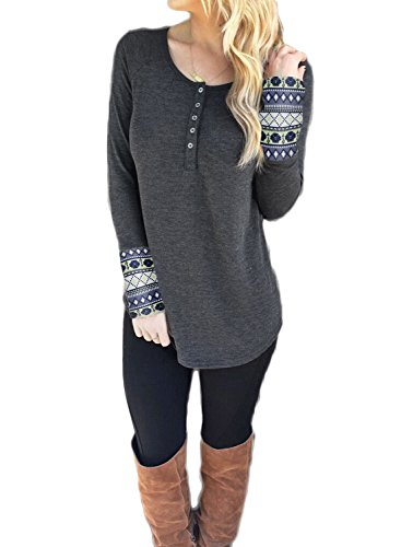 Phoenix Womens Long Sleeve Scoop Neck Blouse Geometric Print Henley Tee Shirt, Large