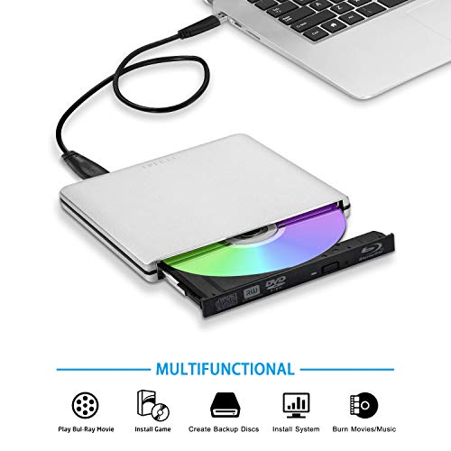 TPFEEL External Blu Ray Burner Drive USB3.0 and Type-C Aluminum Portable CD DVD BD Burner Writer 3D 4K 6X Blu-ray Disc Playback Super-Fast Transmission for Windows Mac OS Laptop PC Computer(Silver)