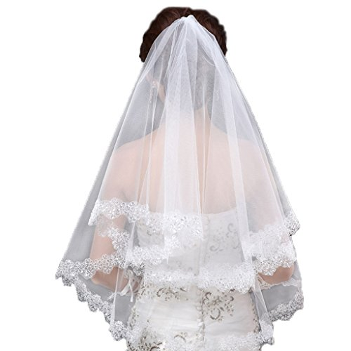 Colorful House Women's Elegant White Wedding Bridal Veil Applique Bling Sequin Edge ()