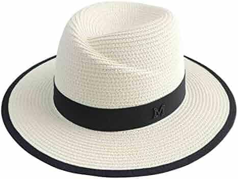 c33ec3e5b7109 Cookisn White Sun Hat Men Formal Blue Beach Cap Letter M Fedora Straw Hat