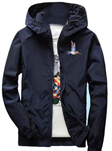 Gocgt Men's Stylish Long Sleeve Hooded Zip Windbreakers Jacket 2