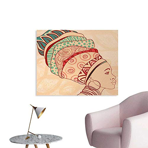 Tudouhoho African Woman Custom Poster Local Female Portrait with Necklace Earring and Ethnic Turban Ornaments Photographic Wallpaper Peach Red Teal W32 xL24 ()