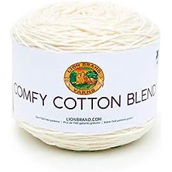 Lion Brand Yarn 756-098 Comfy Cotton Blend Yarn, Whipped Cream