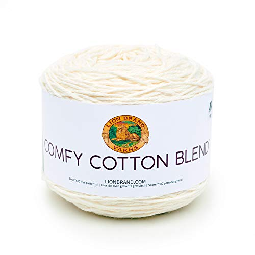 Craft Yarn Cream - Lion Brand Yarn 756-098 Comfy Cotton Blend Yarn, Whipped Cream