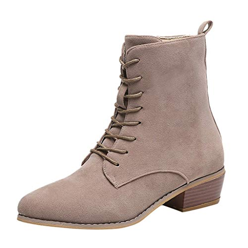 Aunimeifly Ladies Solid Color Suede Single Boots Women Casual Zipper Ankle Booties Outdoor Shoes(US:6.5-7,Khaki) (Best Washing Machine For Family Of 6)