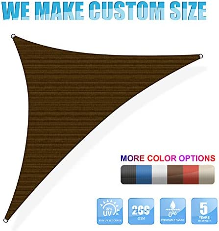 Amgo Custom Size 27 x 27 x 27 Brown Triangle Sun Shade Sail ATAPT8 Canopy Awning, 95 UV Blockage, Water Air Permeable, Commercial and Residential Custom