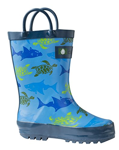 Turtles On Kids Easy Waterproof amp; Sharks with Boots Rain Rubber Oakiwear Handles SqnwCPw