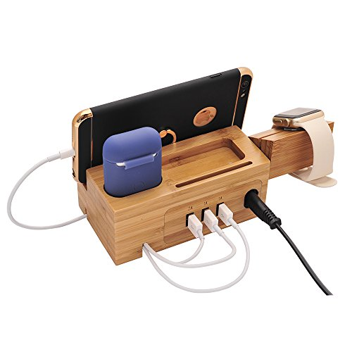 BoxThink Airpods Charging Station Apple Watch Charger Stand iphone Charging Dock Cable Management,Bamboo Wood Charging Station with 3 USB Power Ports for AirPods/Apple Watch Series3/2/1/iPhone by BoxThink