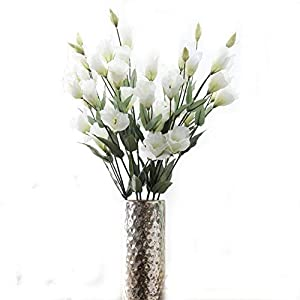 """Tutuziyyy Artificial Flowers 31"""" Long Stem 7 Heads Platycodon Grandiflorum Flower Bouquet Wedding Party Home Decor, Pack of 3 (White) 21"""