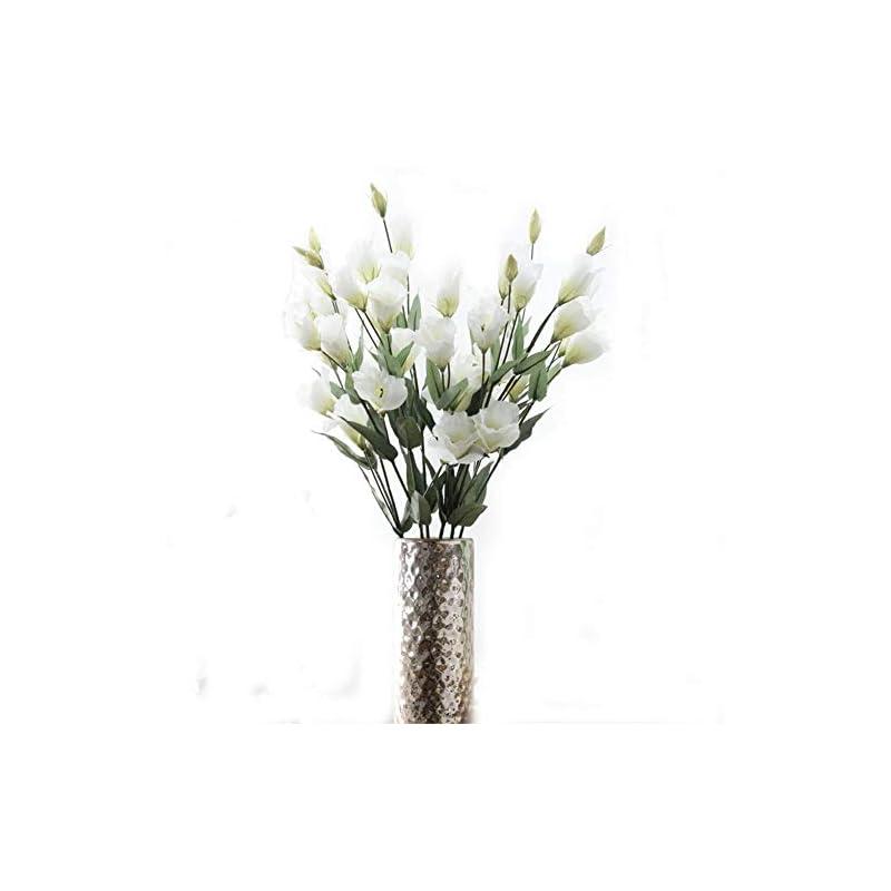 "silk flower arrangements tutuziyyy artificial flowers 31"" long stem 7 heads platycodon grandiflorum flower bouquet wedding party home decor, pack of 3 (white)"