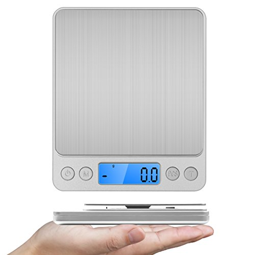Food Scale, Sokos 3000g Multifunction Pocket Digital Scale 0.01 oz Resolution, High Precision With Backlit Display & Stainless Steel (Silver) (Capacity Pet Food)