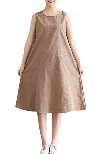 EHAME ワンピース ロング丈 レディース ドレス ノースリーブ マキシ丈 綿麻 無地 薄手 夏 ゆったり シンプル カジュアル 大きいサイズ